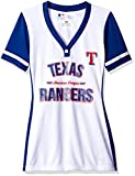 MLB Texas Rangers Women's Team Name Rugged Competitor Pull Over Color Block Jersey, Small, White/Deep Royal