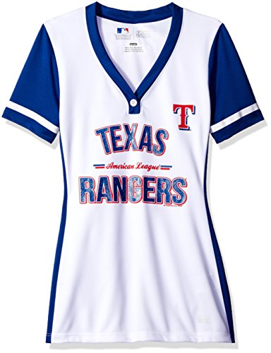 VF LSG MLB Texas Rangers Women's Team Name Rugged Competitor Pull Over Color Block Jersey, Small, White/Deep Royal (Rangers Texas Mlb Light)