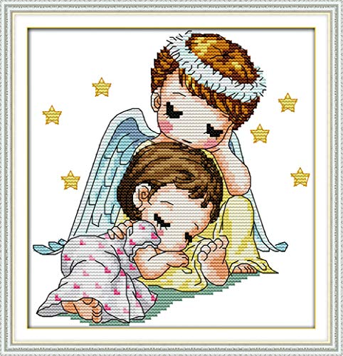 LanMent Guardian Angel Stamped Cross Stitch 14CT Counted Kits Cross-Stitching Pattern Embroidery for Beginner Adults Home Decor Birthday Gift 8.7 x 8.7 Inches