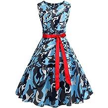 Wellwits Women's Boat Neck Sash Waist Tie Hepburn Fall Vintage Swing Dress