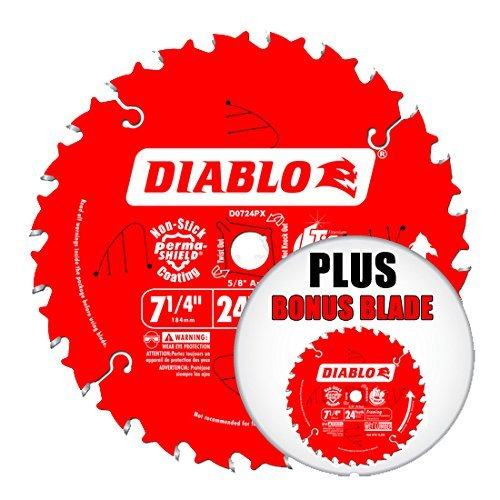 (Freud D0724PX Diablo ATB Framing and Ripping Carbide Circular Saw Blade with 5/8-Inch Arbor, 2-Pack)