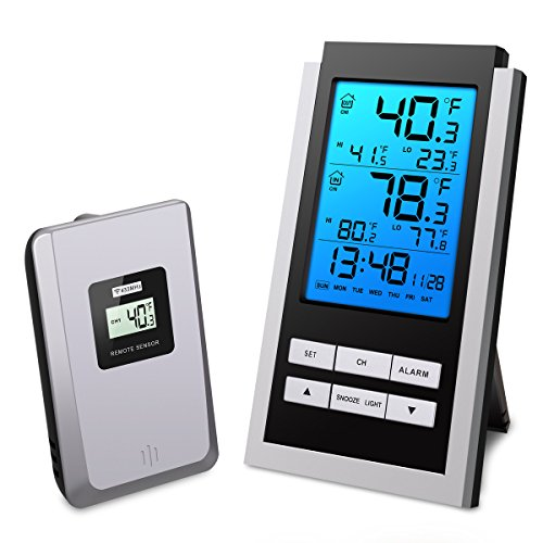 ORIA Indoor Thermometer, with Alarm Clock and Snooze Function, Digital Wireless Indoor/ Outdoor Temperature Monitor, Remote Thermometer with Blue Backlight, Battery Not Included (Clock Thermometer Outdoor)