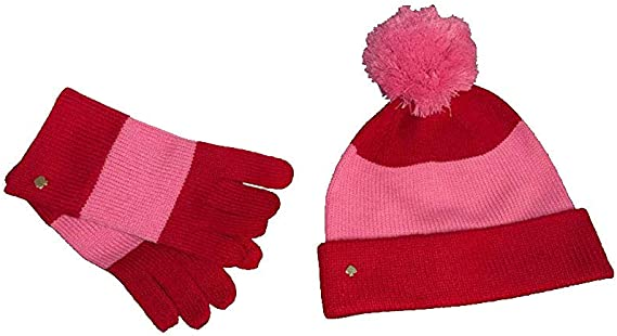 New Kate Spade New York Beanie With Colorblock Bow Hat And Gloves Set Charm Red