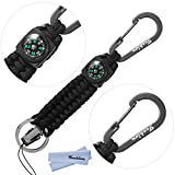 Techion Paracord Survival Keychain Compass, [60-inch Disassembled Length] 7-inch Braided Strong Paracord Keychain with Key Ring, Compass, Carabiner and Quick Release Clip