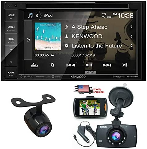 Kenwood Audio DDX26BT 6.2 Double Din Bluetooth WVGA Touch Screen DVD Receiver w 1080 HD Dash Cam Night Vision G-Sensor Video Recorder HD Rear View Camera
