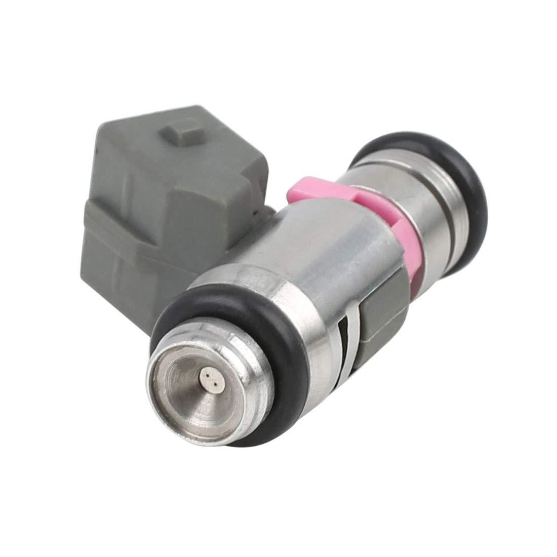 12 V, 2 Pines, 2 Agujeros Sourcingmap IWP099 Inyector de Combustible de Gasolina Color Plateado