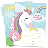 Magical Unicorn Party Supplies Invitations with Envelopes and Stickers – 25 Large Double Sided Invitation Cards for Birthday, Baby Shower and other Events + 25 Envelopes + 30 Stickers