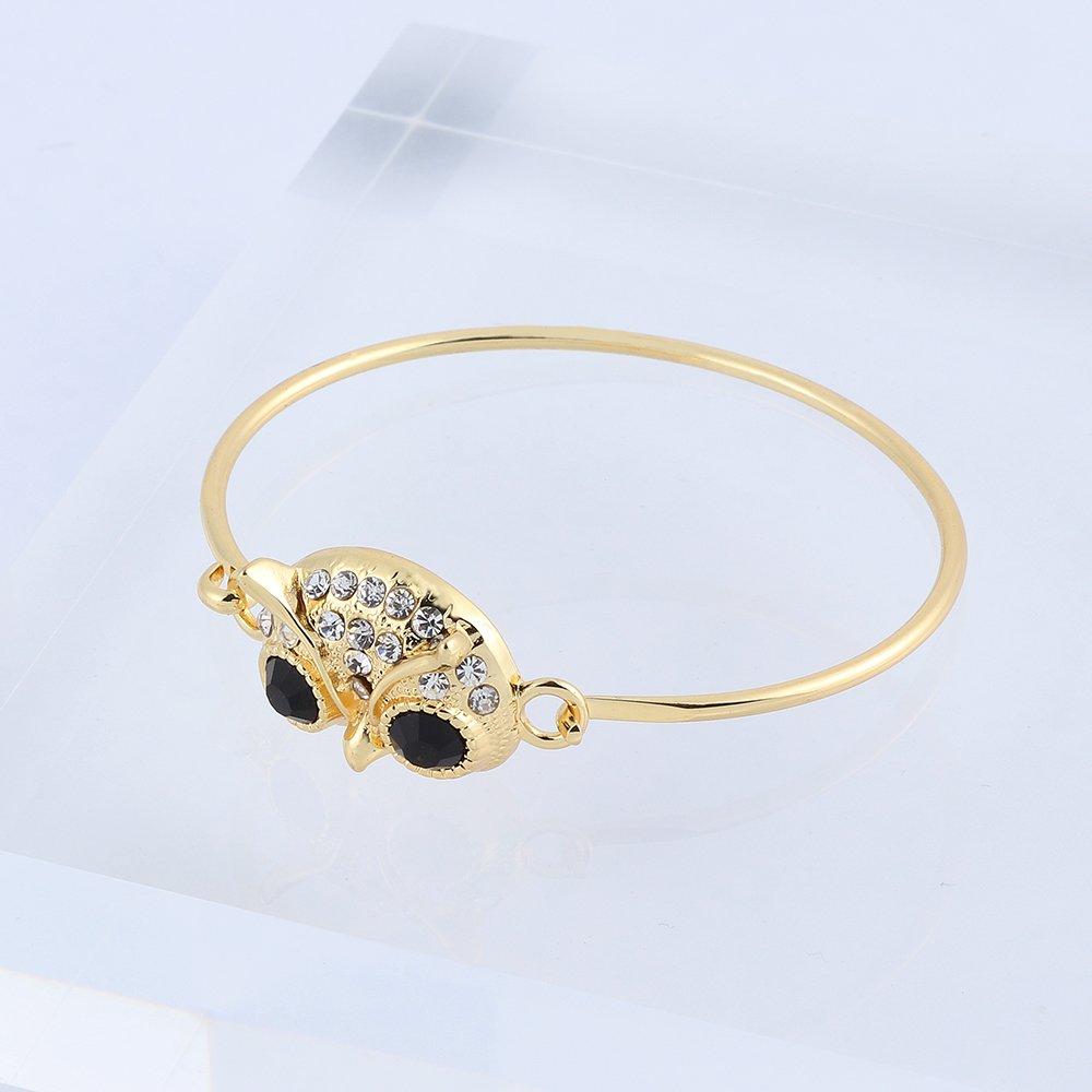 RUXIANG Crystal Owl Head Bird Animal Bangle Cuff Hook Opening Bracelet Jewelry