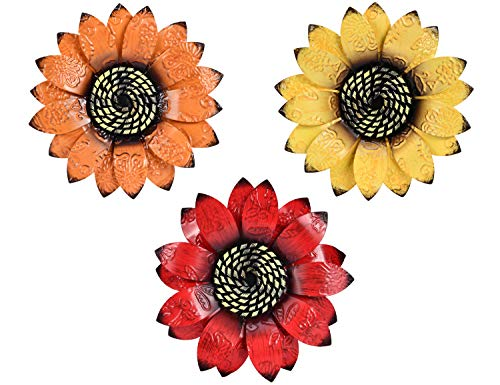 YEAHOME Metal Flower Wall Decor – 9 inch Wall Art Decorations Sunflower Decor Hanging for Bathroom, Bedroom, Living Room…