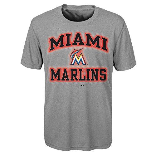 (MLB Youth Boys 8-20 Marlins Short sleeve Grey performance Tee, S(8), Heather Grey)