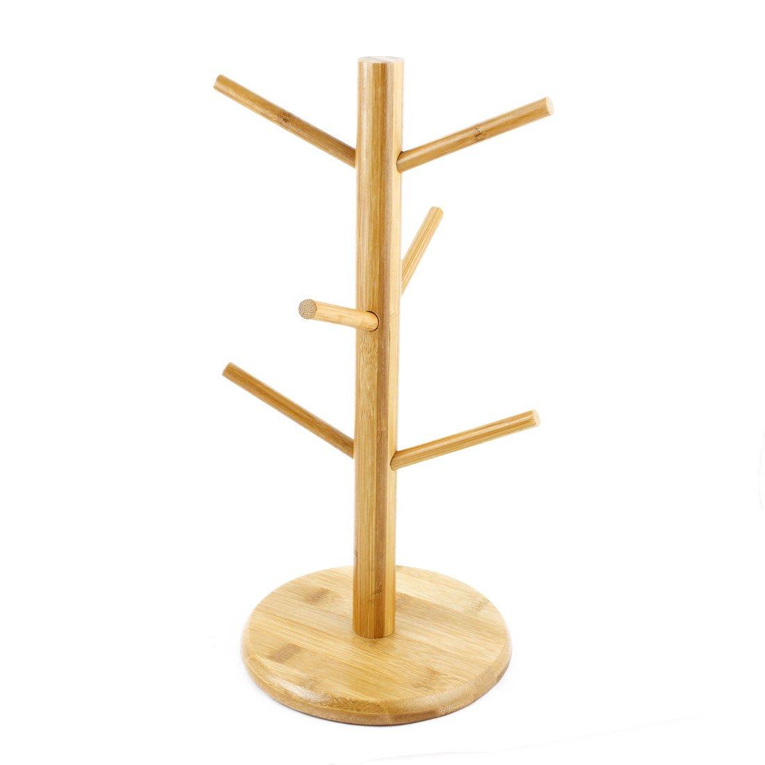 uxcell Bamboo Household Hanging Display Coffee Tea Glass Cup Holder Bracket Mug Tree a16120100ux0238
