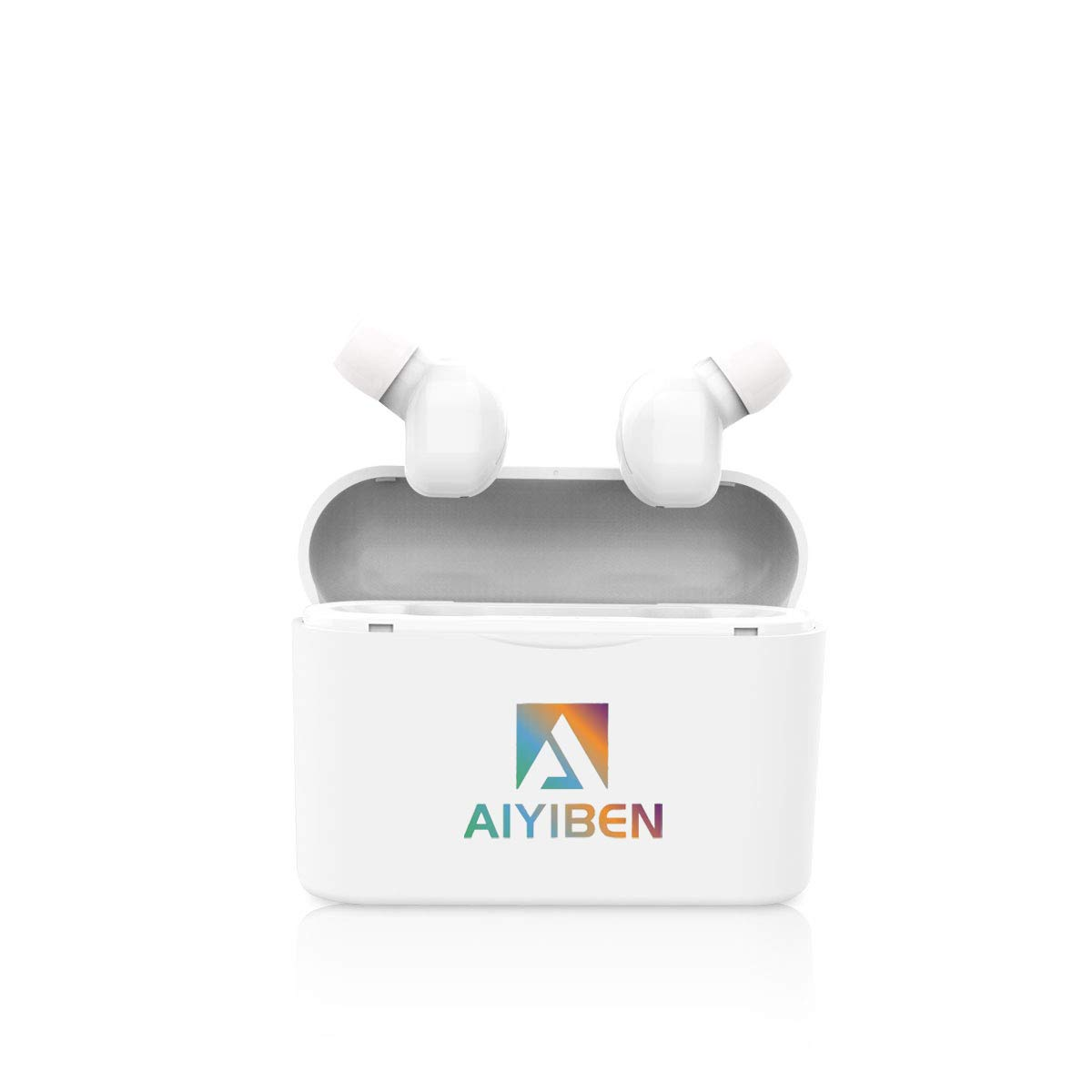 AIYIBEN Bluetooth Wireless Earbuds with Wireless Charging Case Waterproof Noise-Canceling Headphones in-Ear Built-in Mic Headset White