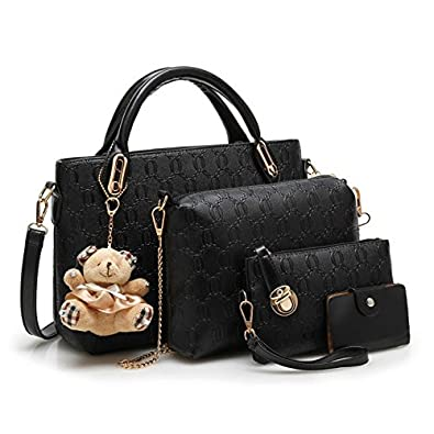 ccc2101f39 Vezela'4 Pieces PU Leather Shoulder Bags for Women - Top Handle Cross  Satchel Handbag
