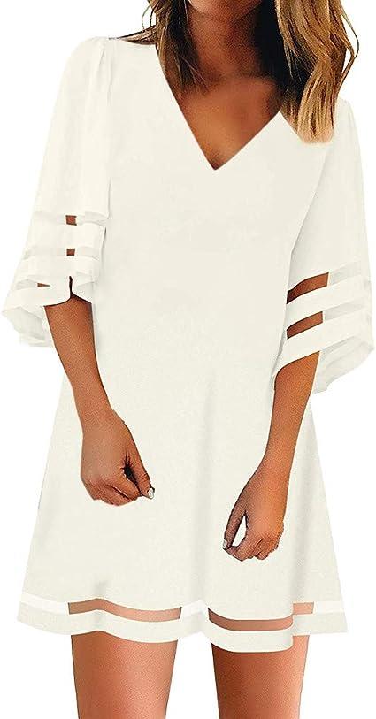 Toponly - Vestido de camisa para mujer con cuello en O de ...