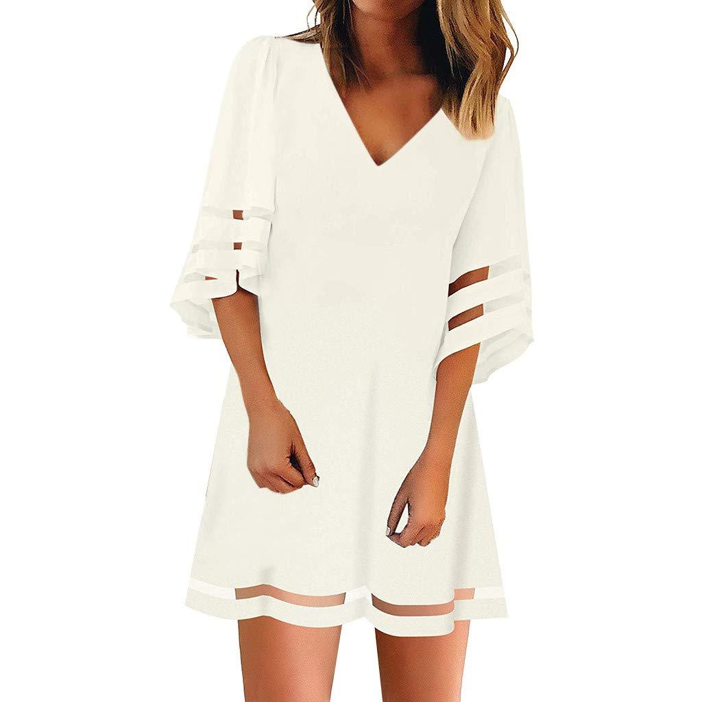 Clothful ?? Women Dress, Women's V Neck Mesh Panel Blouse 3/4 Bell Sleeve Loose Top Shirt Dress White