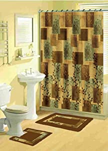 Home Dynamix Bath Boutique Shower Curtain And Bath Rug Set: 331 528 Soft  Squares Brown Sage: 15 Piece Bath Set