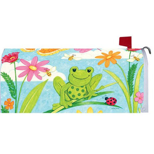 """ WELCOME FRIENDS FROG"" - Mailbox Makeover Vinyl Magnetic Cover"