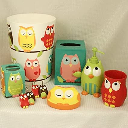 Owl Bath Accessories 6 Piece Collection   (Tissue Box Not Included  Production Discontinue)