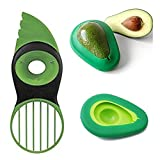 3 in 1 Avocado Slicer Peeler and 2pcs Reusable Avocado Saver /Preserve/Storage Cover/Holder Kitchen Utensil Tool For Fresh Ripe Avocados
