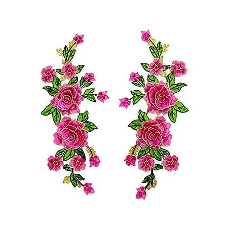 26 * 30cm 5 couleurs a Wisilan 1 Paire de patchs /à broder en forme de fleurs /à repasser ou /à coudre pour le bricolage de jeans vestes sacoches chapeau v/êtements d/écoration