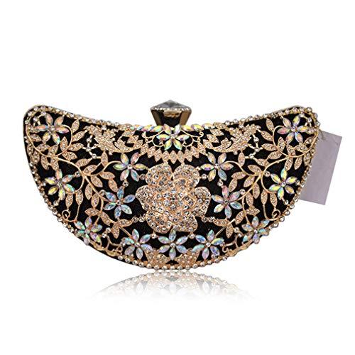 Rhinestone Purse Bag Women Black Crystal Lady Party Handbags Evening Bridal Clutch Wedding Bag Diamond Floral UaqZxOvwT