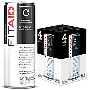 FITAID Recovery Blend | With BCAAs, Glucosamine, Electrolytes, Omega-3s, Green Tea | 100% Clean, Paleo, Vegan & Gluten-Free | No Artificial Flavors or Sweeteners | 12-oz. cans (Pack of 4)