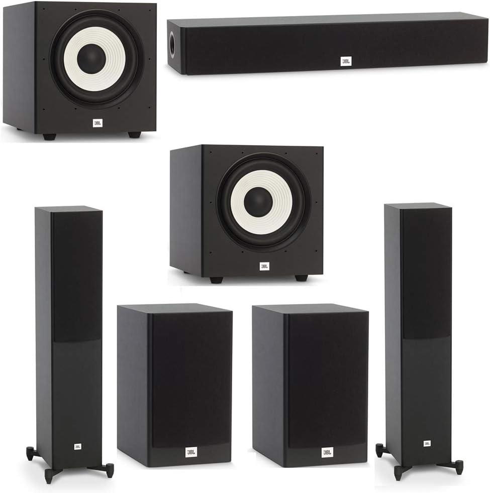 1 JBL Stage A135C Center Speaker 2 JBL Stage A100P Subwoofers JBL 5.2 System with 2 JBL Stage A170 Floorstanding Speakers 2 JBL Stage A130 Bookshelf Speakers
