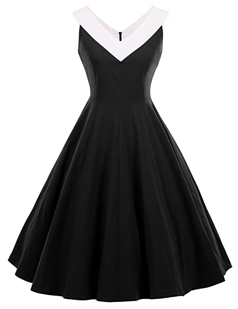 GownTown Womens 1950s Vintage Dress V-Neck