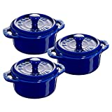 Staub 40511-422 Ceramics Mini Round Cocotte Set, 3-piece, Dark Blue