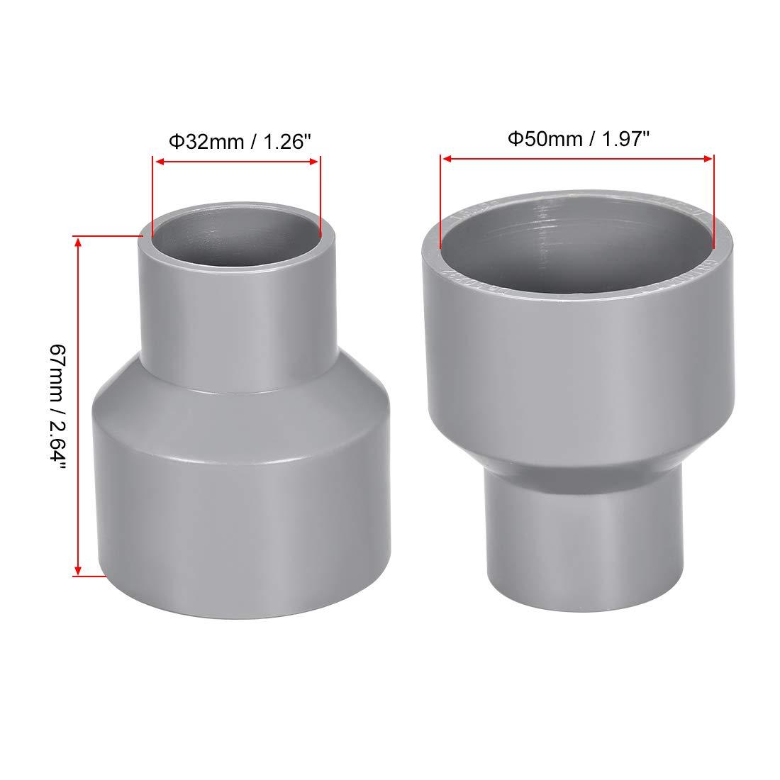 sourcing map Acoplamiento reductor de PVC de cubo por cubo de 50mm x 40mm Adaptador de tuber/ía DWV Gris 10uds