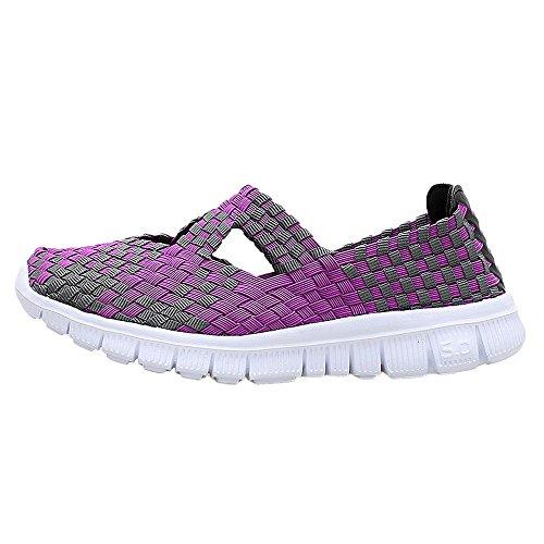 Aeropostale Wallet - ♡QueenBB♡ Women's Slip On Walking Shoes Woven Stretch Mesh Loafers Lightweight Mary Jane Flat Sneakers Multicolor Purple