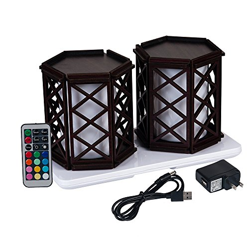HERO-LED TB-CG-PA03 Restaurant Table Lighting, Wireless Induction Rechargeable LED Cordless Table Lamps with Remote Timer Controller, Set of 2, Cage, PA 03