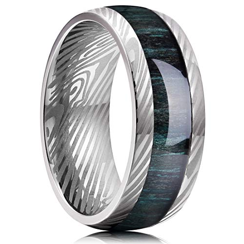 King Will 8mm Men Titanium Wedding Ring Inlaid Green Wood and Inner Hole Plating Damascus Texture 10.5