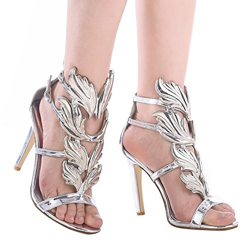 Shoe'N Tale Women's High Heel Gladiator Sandals Gold Flame Party Dress Stiletto Shoes (8 B(M) US, ()