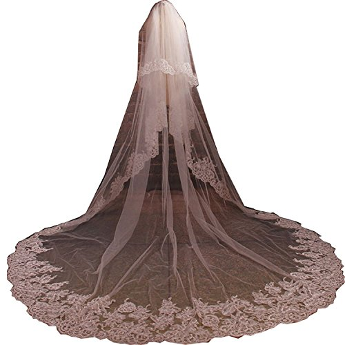 Fenghuavip Stylish Long Train White Bridal Cathedral Wedding Veil