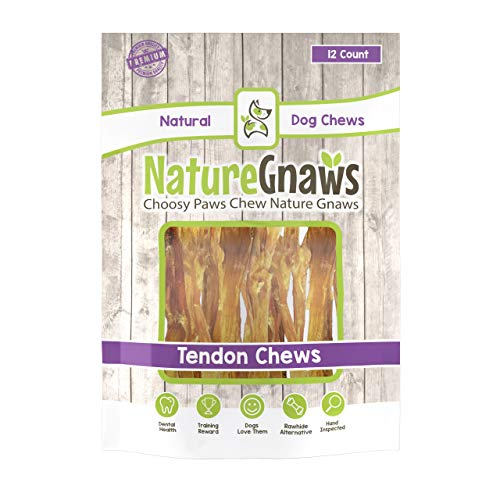 Nature Gnaws Tendon Chews 4-5 (12 Pack) - 100% All Natural Grass Fed Premium Beef Dog Chews - Promotes Healthy Joints & Ligaments
