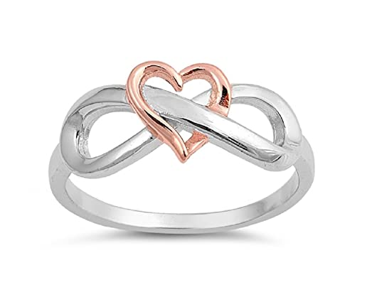 Two Tone Sterling Silver Rose Gold Tone Heart Infinity Ring Amazon