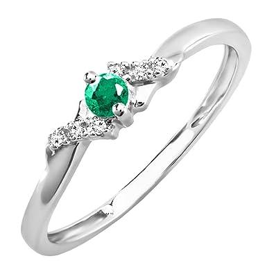 Klassischer Ring mit Smaragden und Diamanten Sterlingsilber