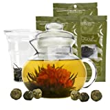 Primula Blossom Glass Teapot – Wide Mouthed Borosilicate Glass – 40 oz. – Dishwasher and Microwave Safe – Clear – Includes 6 Flowering Teas and 3 Loose Tea Packets