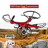 S20 Quadcopter Drone with HD Camera RTF GPS 4 Channel 2.4GHz 6-Gyro with Altitude Hold Function,Headless Mode and One Key Return Home (Red)