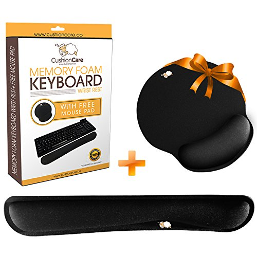 (CushionCare Keyboard Wrist Rest Pad - Full Mouse Pad Included for Set - Memory Foam Cushion - Ergonomic Support - Prevent Carpal Tunnel & RSI When Typing on Computer, Mac & Laptop)