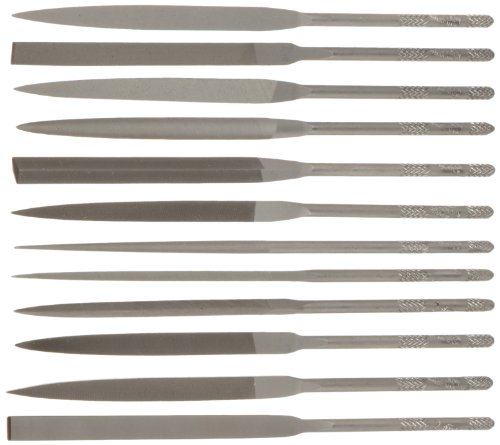 Nicholson 12 Piece Needle File Set with Handles, Swiss Pattern, Double Cut, #2 Coarseness, 5-1/2'' Length by Apex Tool Group