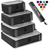 4 Set Packing Cubes,Travel Luggage Packing Organizers with Laundry Bag Black Net