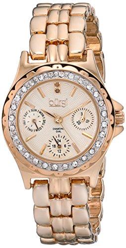 Burgi Women's BUR117RG Diamond & Crystal Accented Guilloche Dial Rose Gold Bracelet Watch