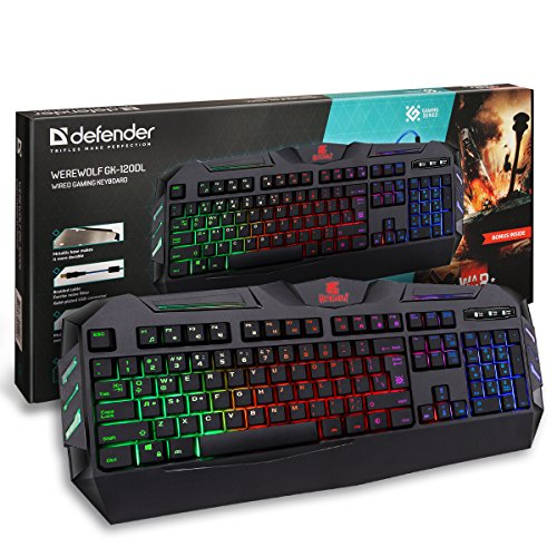 Defender Rainbow Backlit Gaming Keyboard – 104 Keys – 19 Anti Ghost Keys – Adjustable Brightness – Quick, Accurate & High Performance Ergonomic Keyboard – Equally Suitable for Windows PC or Mac