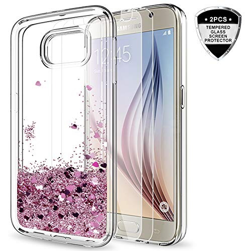 Galaxy S6 Case with Tempered Glass Screen Protector [2 Pack] Girls Women, LeYi Glitter Bling Shiny Moving Quicksand Liquid Clear TPU Protective Phone Case Cover Samsung Galaxy S6 ZX Rose Gold