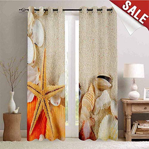 - Flyerer Seashells, Waterproof Window Curtain, Group of Seashells Starfish on The Sand Romantic Travel Destination Nature, Room Darkening Wide Curtains, W84 x L108 Inch Beige Ivory Cream