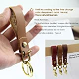 Leather Keychain by Handmade Cowhide Smooth Soft Leather Key Ring Natural color (02 Light Brown Leather Keychain)