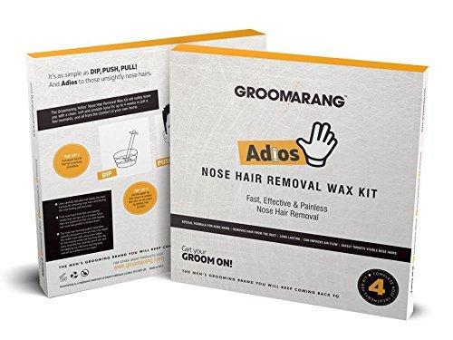 """Groomarang """"Adios"""" zu Nasenhaaren, Nasenhaar-Entfernungs-Set für Männer, schnell, effizient & schmerzlos, Nasenhaar Wax, Haarentfernungs-Wachs, Wax zum Entfernen der Nasenhaare, Set für 4 Anwendungen Set für 4 Anwendungen"""