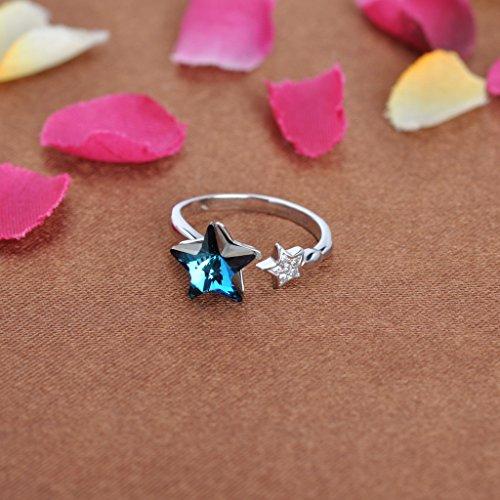 Infinite U Double Etoiles Bague en 925 Argent cadeau de Noël/Nouveau An/saint-valentin Océan Bleu Cristal de l'Autriche Bague Réglable Taille 49 à 55